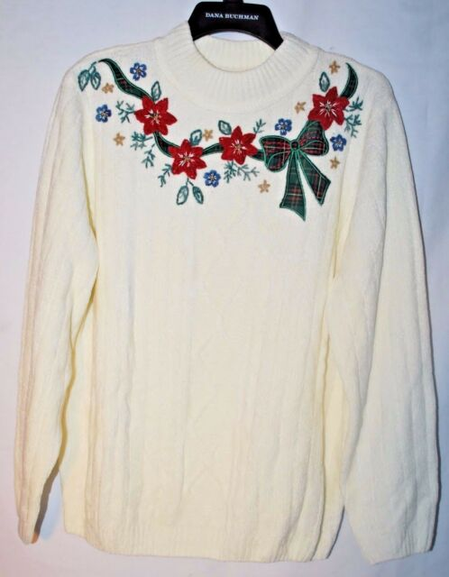 ALFRED DUNNER Holiday Christmas UGLY Sweater Poinsettia Ribbon Shoulder Pads EUC