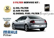 FOR PEUGEOT 407  1.6 HDi 6/2004-02/2008 NEW OIL AIR FUEL FILTER SERVICE KIT