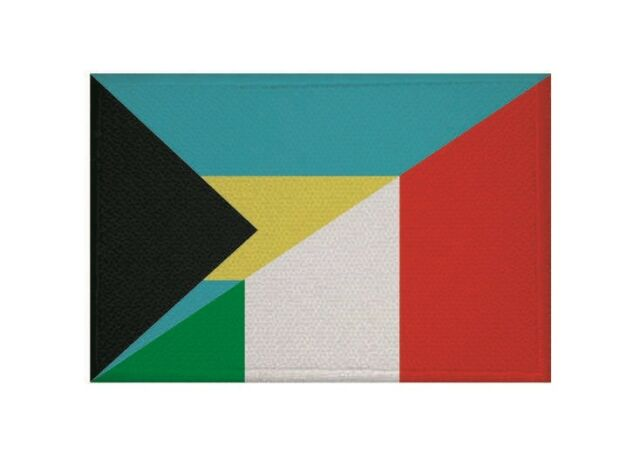 Aufnäher Bahamas - Italien Fahne Flagge Aufbügler Patch 9 x 6 cm