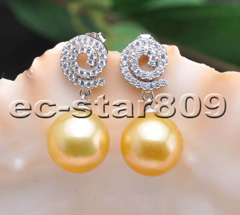 P5738 AA++ 12MM golden Round Edison Keshi Pearl Inlay Crystal Dangle Earring