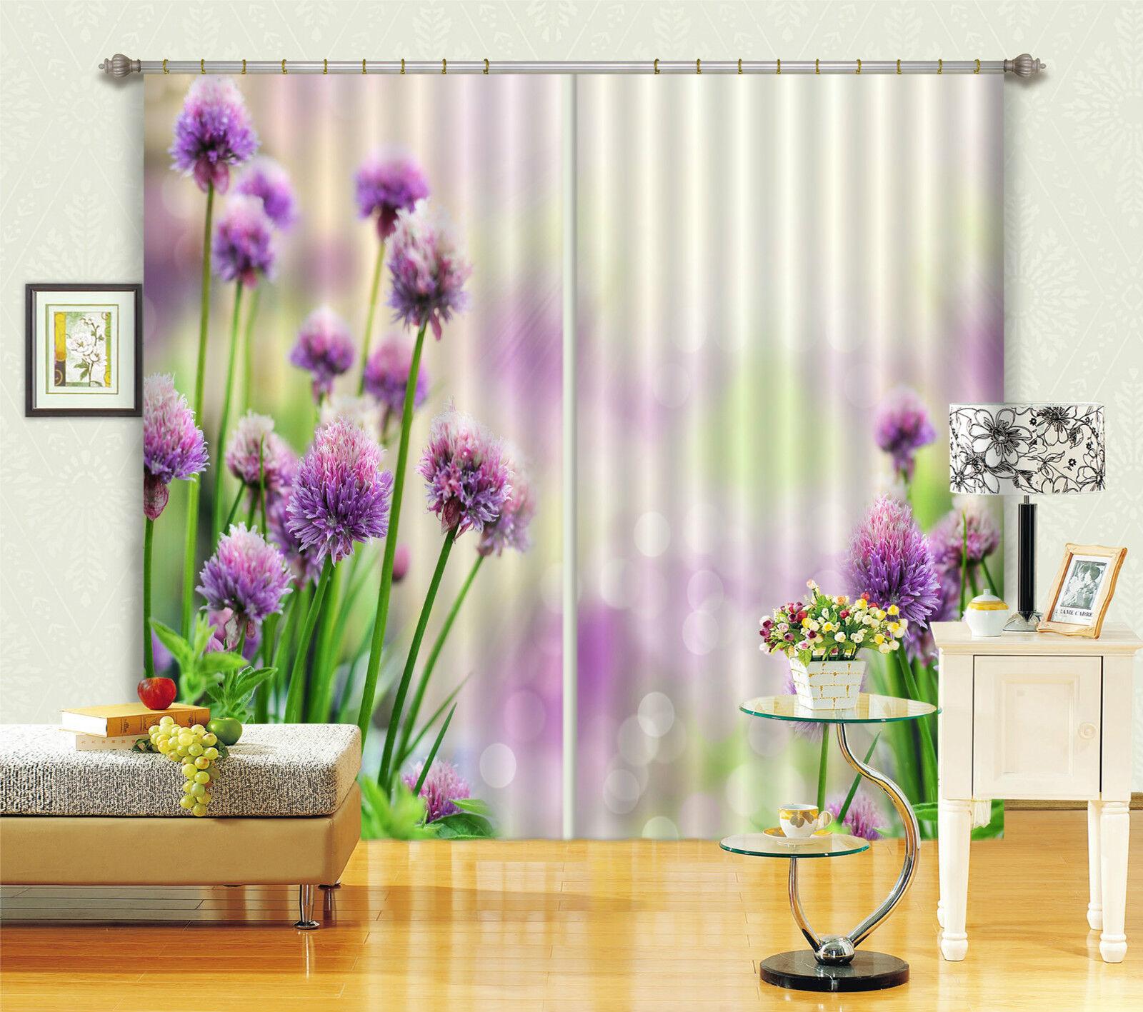 3d púrpura flores 637 bloqueo foto cortina cortina de impresión sustancia cortinas de ventana
