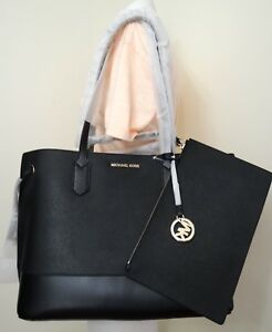 b2b7f9557 Image is loading Michael-Kors-Trista-Large-Drawstring-Leather-Tote-Bag-