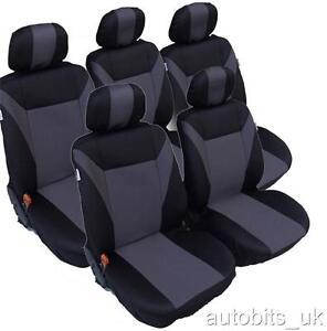 Grau-schwarz 5X Stoff Sitzbezüge Set für Ford Galaxy bis 2006 Fiat Ulysse