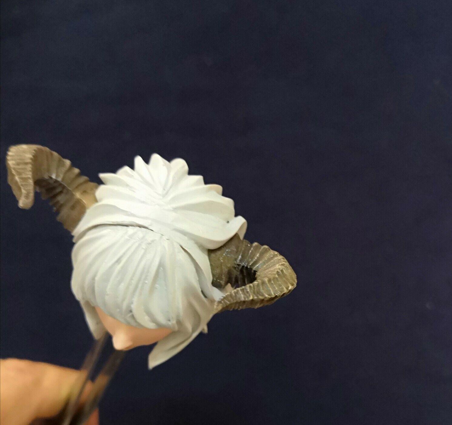 1 6 Beauty Pale Pale Pale Anime Elf Girl Head Sculpt With Horn Fit 12'' Figure 2a9068