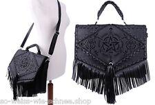 Restyle pentagrama flecos bolso arte-cuero Gothic bolso Hobo Witch Bag
