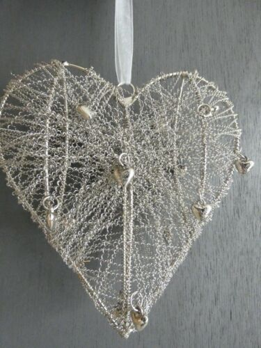 Home decor//Wedding Beaded Hanging Heart On Organza Ribbon