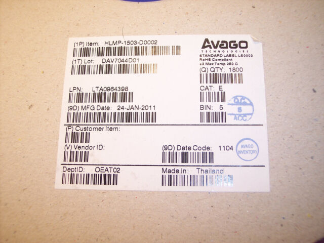 50 HLMP1503 AVAGO GREEN DIFFUSED  3mm T-1 LED/'S 565nm ROHS QTY
