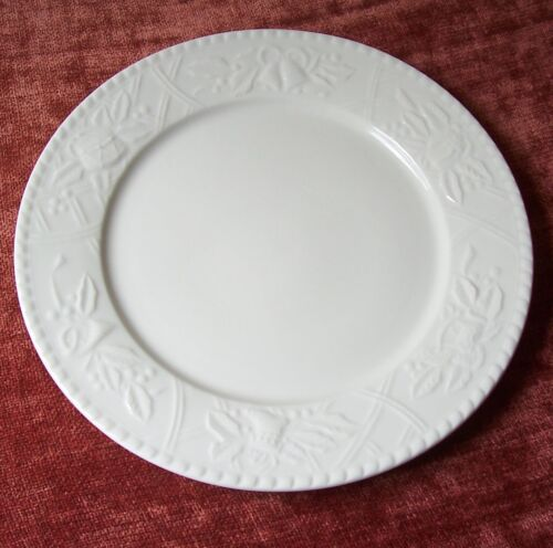 "SANGO WHITE CHRISTMAS 12 14"" ROUND PLATTER ALL WHITE PLATE EMBOSSED HOLIDAY"