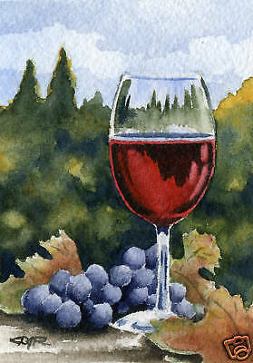 "Wine Glass /""VINO/"" Giclee 5 x 7 Art Print on W//C Paper Signed by Artist DJR"
