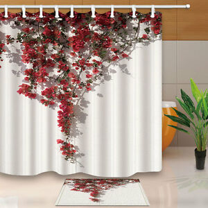 Image Is Loading Floral Shower Curtian Set Red Bright Flowers On