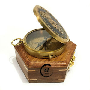 Antique Nautical Brass Beautiful Nautical Push Button Compass With Wooden Box
