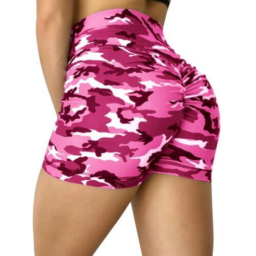 Womens High Waist Yoga Shorts Ladies Camo Gym Push Up Sport Butt Lift Hot Pants