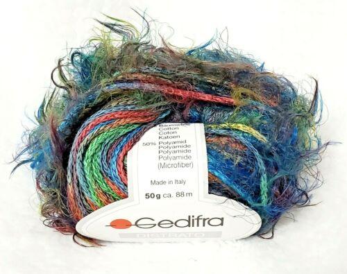 Gedifra DISTRATO Novelty Self Striping Cotton Eyelash Yarn col.3580 Prism