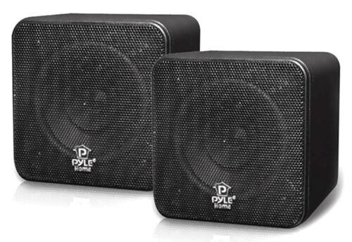 Pair NEW Pyle PCB4BK 4/'/' 200 Watt Black Mini Cube Bookshelf Speaker In Black