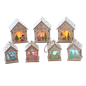 LED-Light-Wood-HOUSE-Cute-Christmas-Tree-Hanging-Ornaments-Holiday-Decoration
