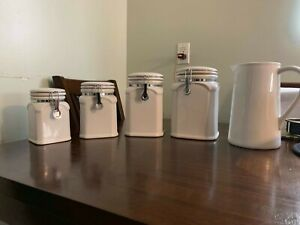 Details about white canister sets kitchen ceramic