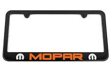 MOPAR Satin Black License Plate Frame - Orange GoMango / Silver Engraved Logo