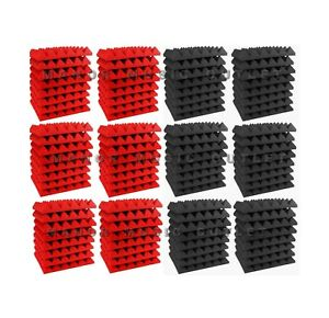 96-pc-Acoustic-Foam-Pyramid-RED-and-GREY-12x12x2-034-Studio-Soundproofing-tile