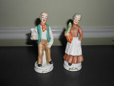 Grandma & Grandpa Country Figurines With Milk Can & Carrots Fine Porcelain