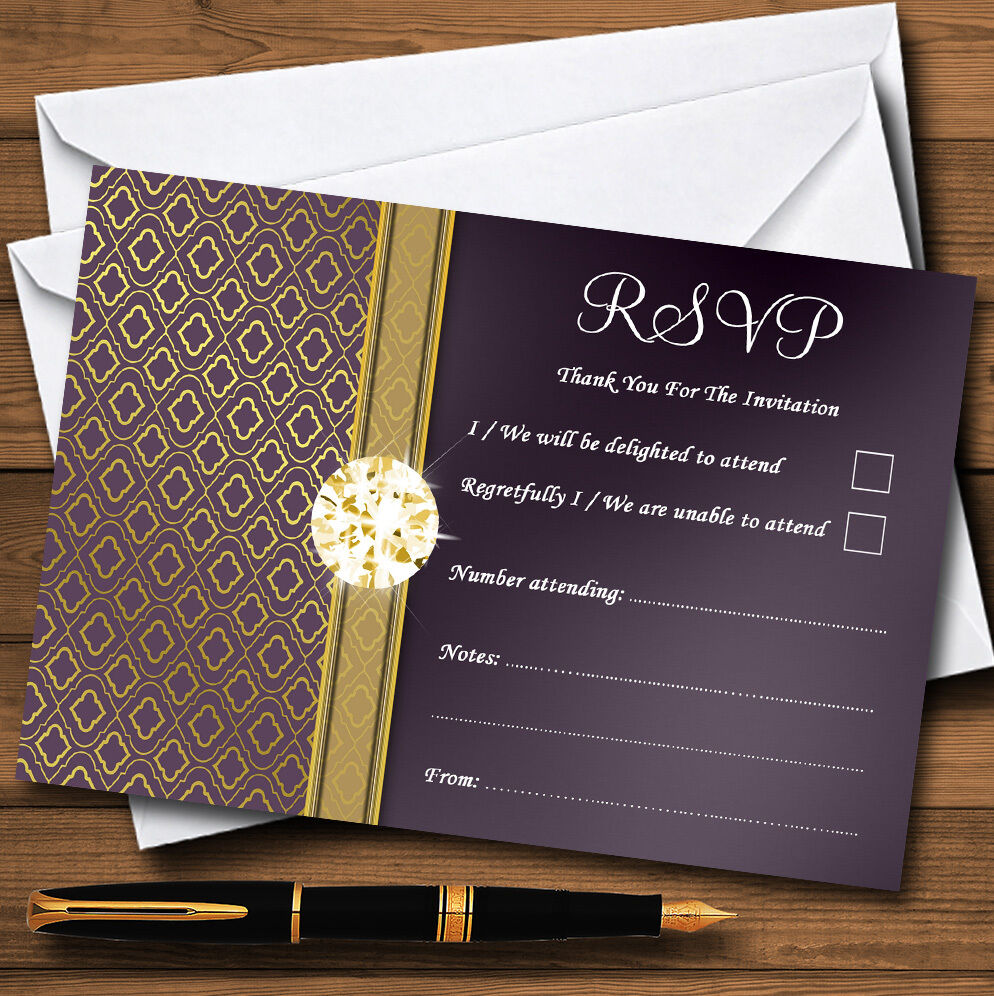 lila Satin And Gold Personalised RSVP Cards