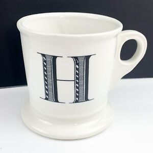 ANTHROPOLOGIE White Ceramic H Initial Monogram Coffee Mug Shaving Cup