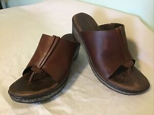 Born Hanita ~ Brown Leather Slip On Clog Sandal ~ Open Toe Mule ~ Womens Size 8