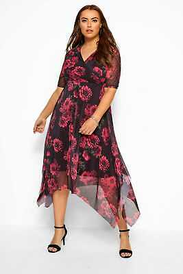 Yours Clothing Women/'s Plus Size Black /& Red Floral Print Longline Wrap Top