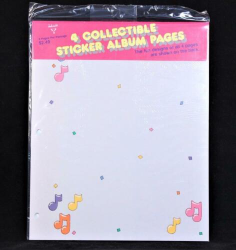 """1985 Hallmark Four Double Side 11/"""" X 9/"""" Sticker Album Refill Pages"""