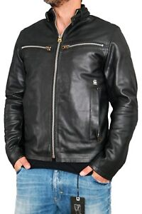 g star road leather jkt herren lederjacke gr l black biker. Black Bedroom Furniture Sets. Home Design Ideas
