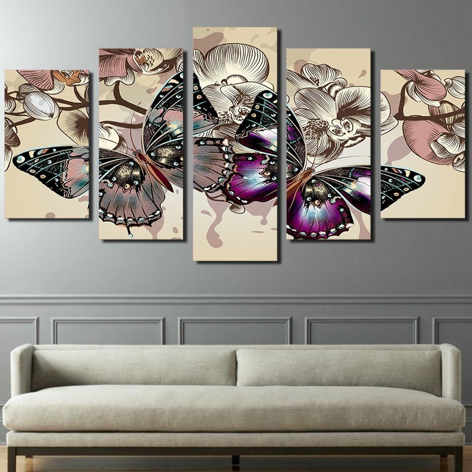 Butterfly Vintage Draw with Flower Art 5 pieces Canvas Wall Poster Home Decor
