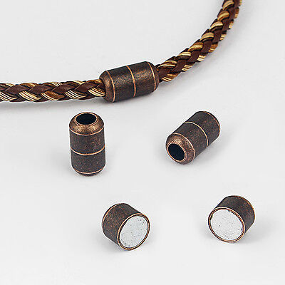 Antique Copper Barrel Magnetic Clasp End Caps Lock For 3mm 4mm 5mm Leather Cord