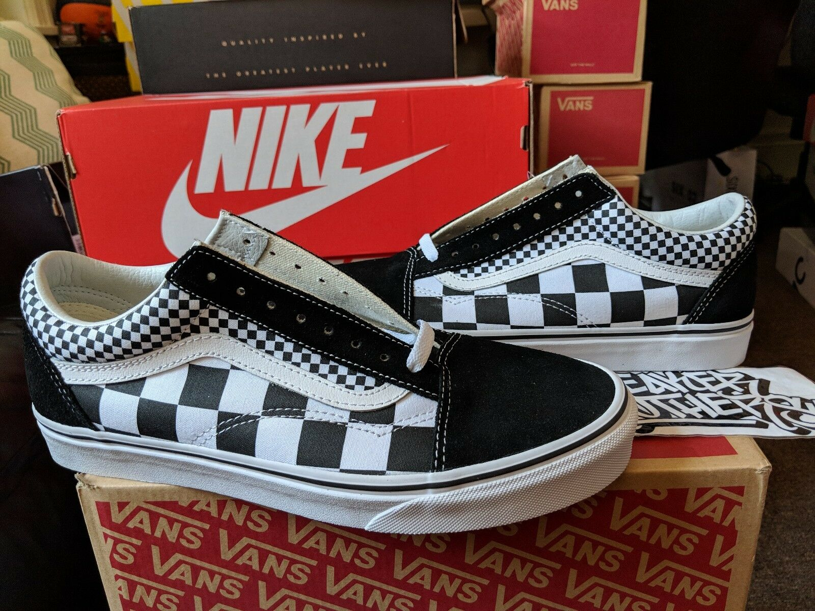 Vans Skool negro blancoo mezcla Checkerboard Old tan verdadero VN0A38G1Q9B fuera del Wall