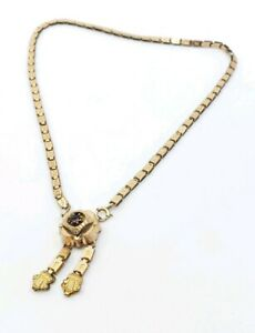 Antique-Edwardian-Gold-Filled-Choker-Tassel-Necklace-Gorgeous-Front-Clasp-14-034