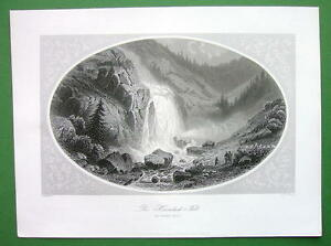 GERMANY-Tyrol-Oetzthal-Heinlach-Falls-Antique-Print-Engraving
