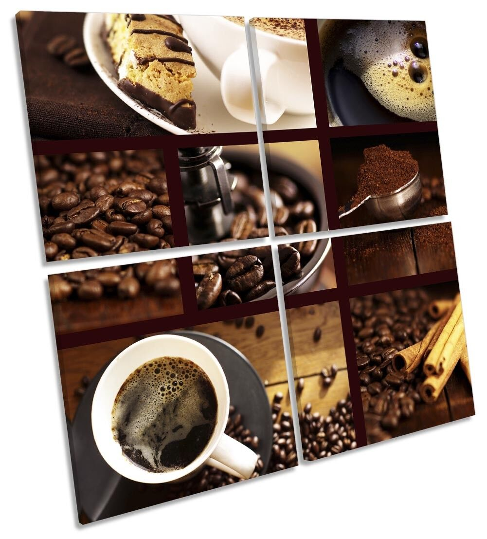 braun Coffee Kitchen Collage Picture MULTI CANVAS WALL ART Square