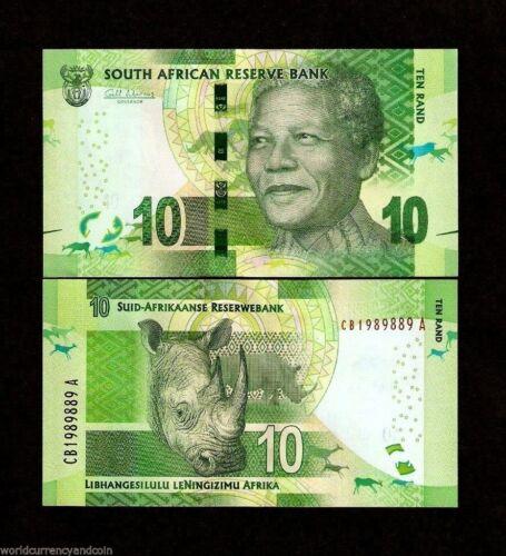 SOUTH AFRICA 10 RAND P138 2014-2018 NELSON MANDELA RHINO UNC Animal MONEY NOTE