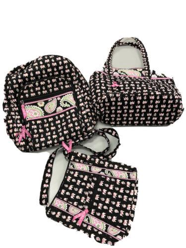 Vera Bradley Black Pink Elephants Backpack ,Tote &