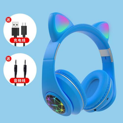 LED Wireless Bluetooth Cat Ear Headsets w//Mic Headphones For Kids Adults