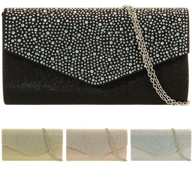 New Glitter Women Diamante Clutch Bag Bridal Designer Ladies Evening Handbag