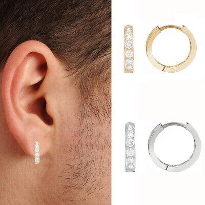 Mens Ladies 9ct White Gold CZ 16mm Huggie Hoop Earrings Buy Pair or Single