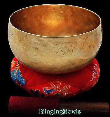 """Antique Tibetan Singing Bowl: Lotus 7 5/8"""", ca. 19th C., C3 & F#5. VIDEO"""