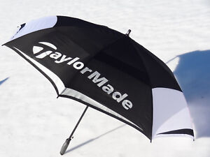 Image is loading TaylorMade-Double-Canopy-Umbrella-64-Inch-Black-White- & TaylorMade Double Canopy Umbrella 64 Inch Black White Gray NEW ...