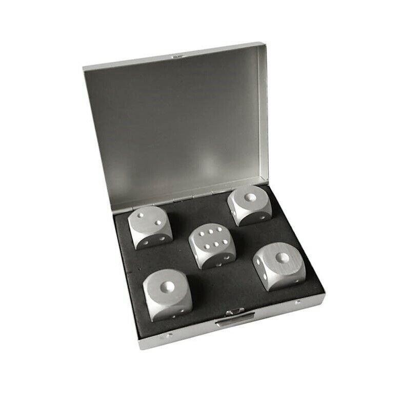 5x Würfel Metall Grün Aluminium Poker Kniffel Glück Magie Zauber Box schwer