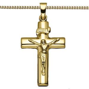 Gold 333 Jesus Christus Kreuz Anhänger Taufe Kommunion mit Kette Silber 925 verg