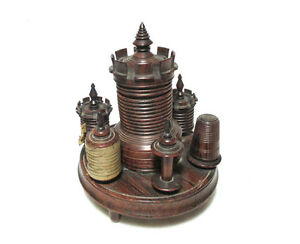 7pc-Wood-Treen-CASTLE-sew-ETUI-pin-cushion-tape-measure-Thimble-COMPLETE-c1800