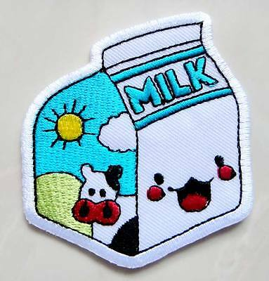 Cute Pretty Milk Carton Box Embroidered Iron on Patch Free Postage