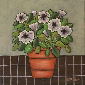 Petunias-12-x-12-x-3-4-ORIG-CANVAS-PAINTING-Flowers-FOLK-ART-PRIM-Karla-Gerard