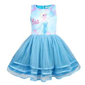 Frozen Tutu Dress Elsa Anna blue red childrens kids girls UK STOCK