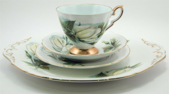 Vtg Paragon Virgo Rose England Fine Bone China Tea Cup Saucer Cake Plate 4Pc Set