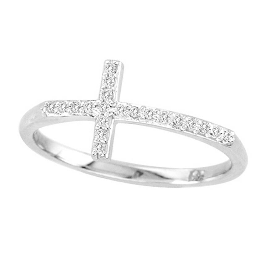 0.12ctw Diamond Cross Ring 14k White gold Size 6 NEW with TAGS Handmade in USA